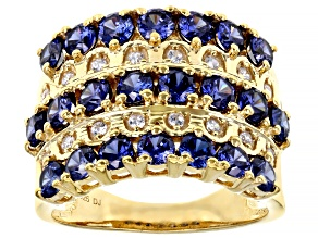 Pre-Owned Blue And White Cubic Zirconia 18K Yellow Gold Over Sterling Silver Ring 4.14ctw
