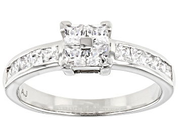 Picture of Pre-Owned White Cubic Zirconia Platinum Over Sterling Silver Ring 1.47ctw