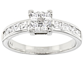 Pre-Owned White Cubic Zirconia Platinum Over Sterling Silver Ring 1.47ctw