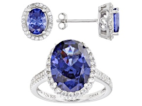 Pre-Owned Blue And White Cubic Zirconia Rhodium Over Sterling Silver Ring And Earrings Set 11.58ctw