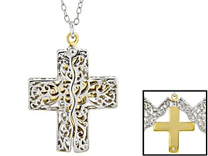 Pre-Owned White Diamond Accent Rhodium & 14K Yellow Gold Over Sterling Silver Pendant