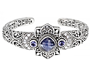 Pre-Owned Tanzanite Sterling Silver Cuff Bracelet 0.58ctw