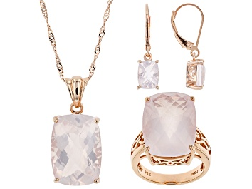 Picture of Pre-Owned Rose Quartz 18k Rose Gold Over Sterling Silver Jewelry Set.