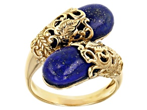 Pre-Owned Blue Lapis Lazuli Fancy Shaped 18k Yellow Gold Over Sterling Silver Bypass Ring