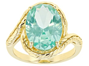 Pre-Owned Lab created green spinel 18k yellow gold over silver solitaire ring 5.03ctw