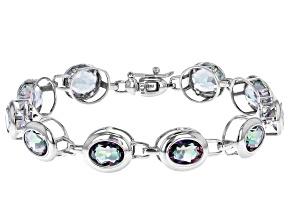 Pre-Owned Oval Multi-Color Quartz Rhodium Over Sterling Silver Tennis Bracelet 16.44ctw