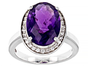 Pre-Owned Purple Amethyst Rhodium Over Sterling Silver Ring 5.20ctw