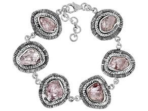 Pre-Owned Pink Morganite Rough Sterling Silver Bracelet