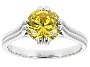 Pre-Owned Yellow Cubic Zirconia Rhodium Over Sterling Silver Ring