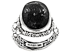 Pre-Owned Black Rutilated Quartz Sterling Silver Solitaire Ring