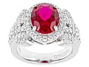 Pre-Owned Red And White Cubic Zirconia Rhodium Over Silver Ring 4.65ctw