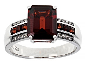 Pre-Owned Vermelho Garnet Rhodium Over Sterling Silver Ring. 3.75ctw