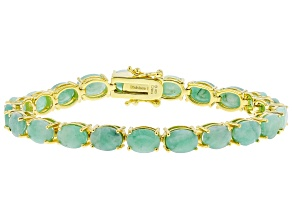 Pre-Owned Green Emerald 18k Yellow Gold Over Sterling Silver Bracelet 20.00ctw