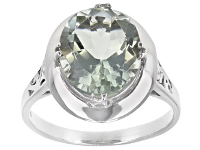Pre-Owned Green Prasiolite Rhodium Over Sterling Silver Ring 3.70ct