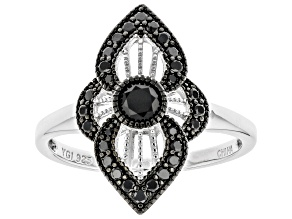 Pre-Owned  Black Spinel Rhodium Over Silver Ring 0.53ctw