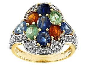 Pre-Owned Mixed Gemstone 14k Yellow Gold Over Sterling Silver Ring 3.99ctw