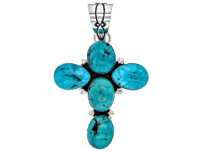 Pre-Owned Turquoise Hand-Crafted Silver Cross Pendant