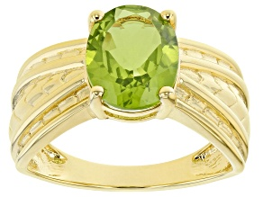 Pre-Owned Green Peridot 18K Yellow Gold Over Sterling Silver Soltaire Ring 2.44ct