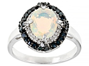 Pre-Owned Multi-color Ethiopian Opal With Rhodium Over Sterling Silver Ring 1.31ctw