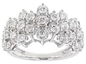 Pre-Owned White Diamond 10K White Gold Pyramid Ring 1.00ctw
