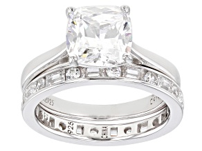 Pre-Owned White Cubic Zirconia Rhodium Over Sterling Silver Ring With Band 7.12ctw
