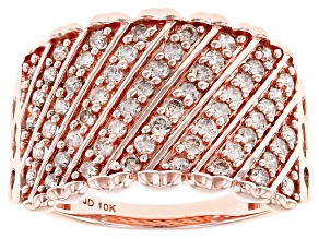 Pre-Owned Champagne Diamond 10k Rose Gold Wide Band Ring 0.75ctw