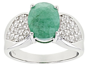 Pre-Owned Green Zambian Emerald Rhodium Over Sterling Silver Ring 3.40ctw