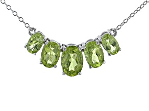 """Pre-Owned Green Peridot Rhodium Over Sterling Silver 18"""" Necklace 3.80ctw"""
