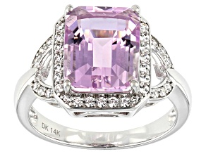Pre-Owned Pink Kunzite Rhodium Over 14k White Gold Ring 5.57ctw