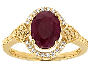 Pre-Owned Red ruby 18k yellow gold over silver ring 2.52ctw