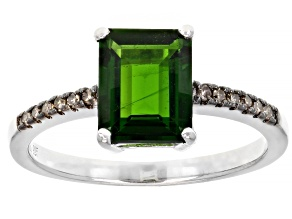 Pre-Owned Octagonal Chrome Diopside Rhodium Over Sterling Silver Ring 1.93ctw