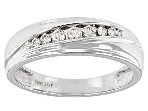 Pre-Owned White Diamond 10K White Gold Mens Ring 0.25ctw