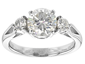 Pre-Owned Moissanite Platineve Three Stone Ring 1.82ctw DEW