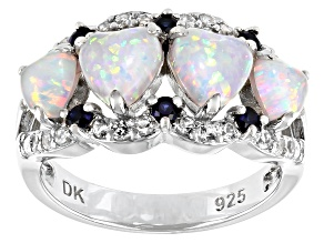 Pre-Owned White Lab Crreated Opal Rhodium Over Sterling Silver Ring 1.86ctw