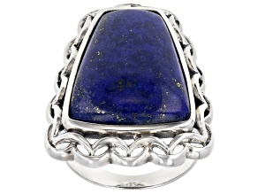 Pre-Owned Blue lapis rhodium over silver ring
