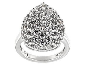 Pre-Owned White Zircon Rhodium Over Silver Cluster Ring 4.19ctw