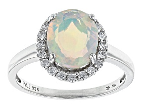 Pre-Owned Ethiopian Opal Rhodium Over Sterling Silver Ring 10x8mm