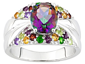 Pre-Owned Multicolor Quartz Rhodium Over Sterling Silver Ring 1.88ctw