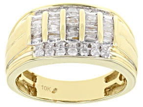 Pre-Owned White Diamond 10k Yellow Gold Mens Wide Band Ring 0.75ctw