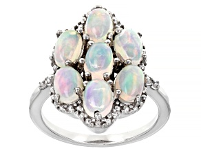 Pre-Owned Multicolor Ethiopian Opal Rhodium Over sterling Silver Ring 1.91ctw