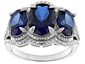 Pre-Owned Lab Created Blue Sapphire Rhodium Over Silver Ring 5.80ctw