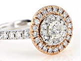 Pre-Owned White Diamond 10K Two-Tone Gold Cluster Ring 1.00ctw