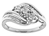 Pre-Owned White Diamond 10K White Gold 3-Stone Bypass Ring 0.20ctw