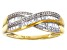 Pre-Owned White Diamond 10K Yellow Gold Crossover Ring 0.33ctw