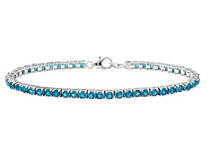 Pre-Owned Neon Blue Apatite Rhodium Over Sterling Silver Bracelet 5.72ctw