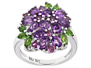 Pre-Owned Purple rhodolite rhodium over sterling silver floral ring 2.94ctw