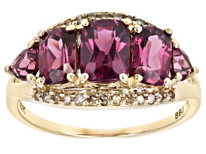 Pre-Owned Grape Color Garnet 10k Gold Ring 3.26ctw.