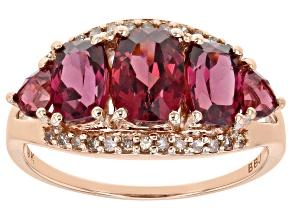 Pre-Owned Grape Color Garnet 10k Rose Gold Ring 3.26ctw.