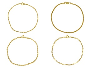 Pre-Owned 18K Yellow Gold Over Sterling Silver Cable, Mirror, Twist, & Popcorn Bracelet Set Of 4