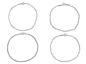 Pre-Owned Sterling Silver Cable, Mirror, Twist, & Popcorn Bracelet Set Of 4